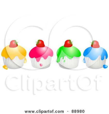 Royalty-Free (RF) Clipart Illustration of a Row Of Colorful Strawberry Topped Cupcakes by Prawny