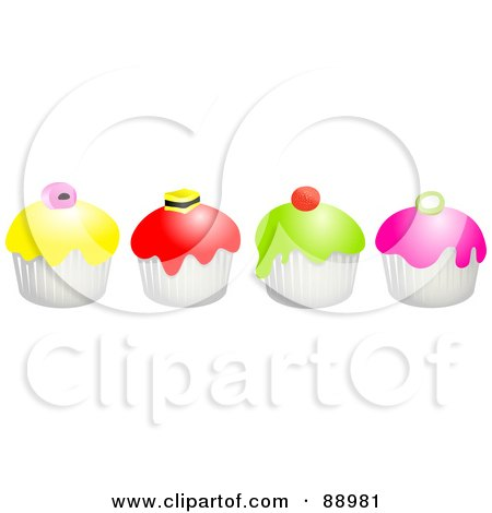 Royalty-Free (RF) Clipart Illustration of a Row Of Colorful Candy Topped Cupcakes by Prawny