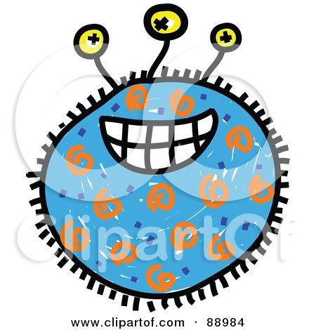 Royalty-Free (RF) Clipart Illustration of a Blue Grinning Germ Cartoon by Prawny