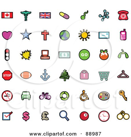 Royalty-Free (RF) Clipart Illustration of a Digital Collage Of Flag, Transportation And Currency Icons by Prawny