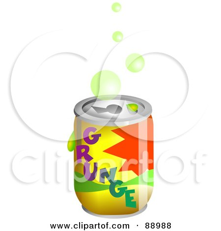 Royalty-Free (RF) Clipart Illustration of Bubbles Over A Grunge Soda Can by Prawny