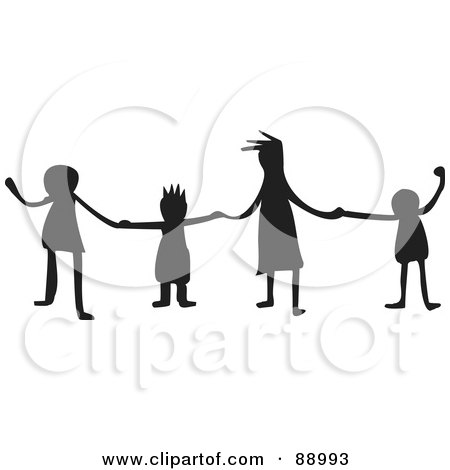 Royalty-Free (RF) Clipart Illustration of a Group Of Silhouetted Kids Holding Hands by Prawny