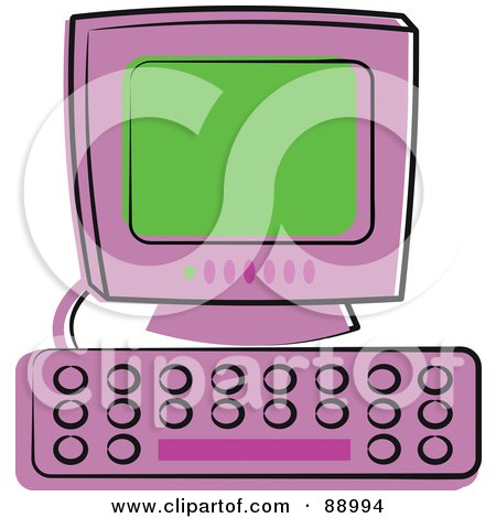 Royalty-Free (RF) Clipart Illustration of a Purple Desktop Computer With A Green Screen by Prawny