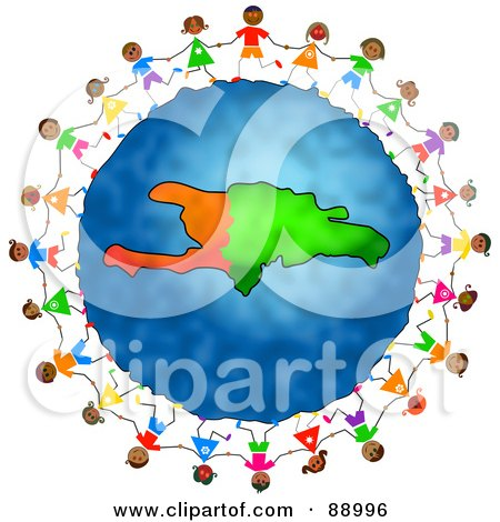 Royalty-Free (RF) Clipart Illustration of Stick Children Holding Hands Around A Haiti Globe by Prawny