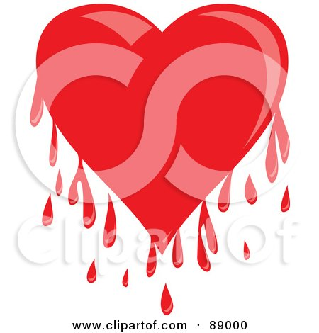 Royalty-Free (RF) Clipart Illustration of a Shiny Red Bleeding Heart With Drips by Prawny