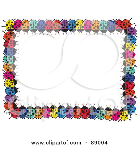 Royalty-Free (RF) Clipart Illustration of a Border Of Colorful Lady Bugs Around White Space by Prawny