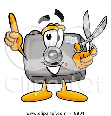 Clipart Picture of a Camera Mascot Cartoon Character Holding a Pair of Scissors by Toons4Biz