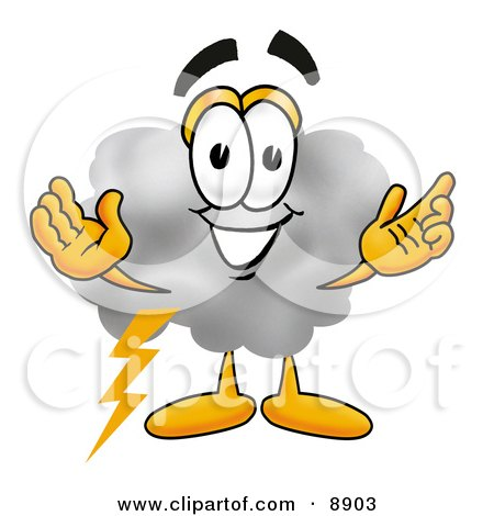 Clipart Picture of a Cloud Mascot Cartoon Character With Welcoming Open Arms by Toons4Biz