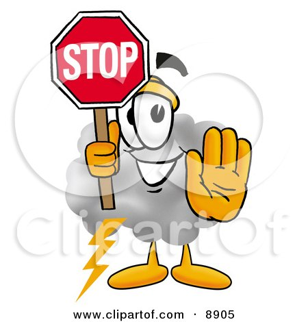Clipart Picture of a Cloud Mascot Cartoon Character Holding a Stop Sign by Toons4Biz