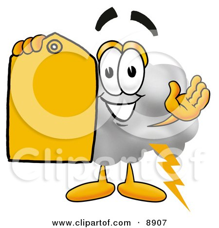 Clipart Picture of a Cloud Mascot Cartoon Character Holding a Yellow Sales Price Tag by Toons4Biz