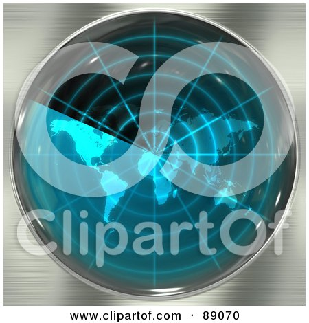 Royalty-Free (RF) Clipart Illustration of a Blue Radar Screen With A World Map Over Brushed Metal by Arena Creative