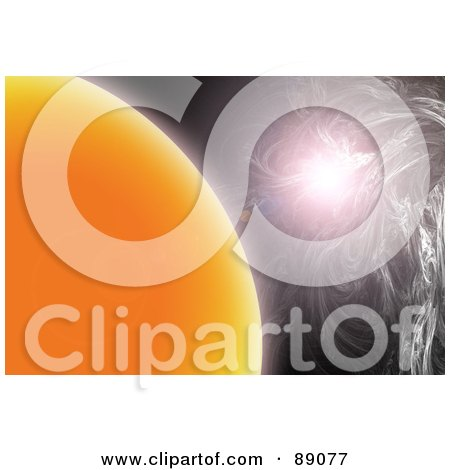 Royalty-Free (RF) Clipart Illustration of a Bright Light Near The Sun by Arena Creative