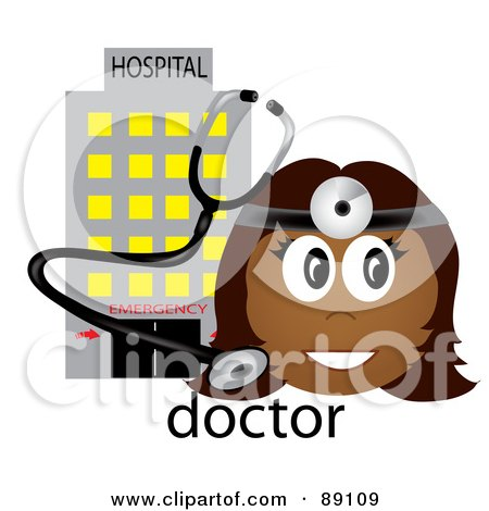 Royalty-Free (RF) Clipart Illustration of a Female Indian Doctor With A Stethoscope And Hospital by Pams Clipart