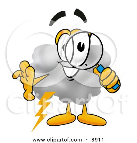 Clipart Picture of a Cloud Mascot Cartoon Character Looking Through a Magnifying Glass by Toons4Biz