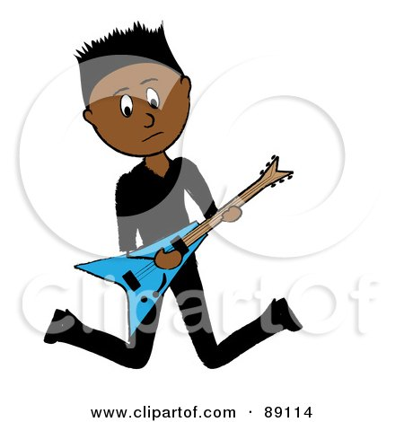 Royalty-Free (RF) Clipart Illustration of a Hispanic Guitarist Jumping by Pams Clipart