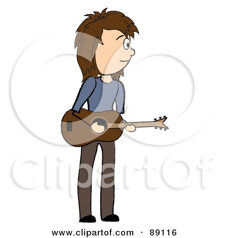 Royalty-Free (RF) Clipart Illustration of a Stick Caucasian Male Guitarist by Pams Clipart