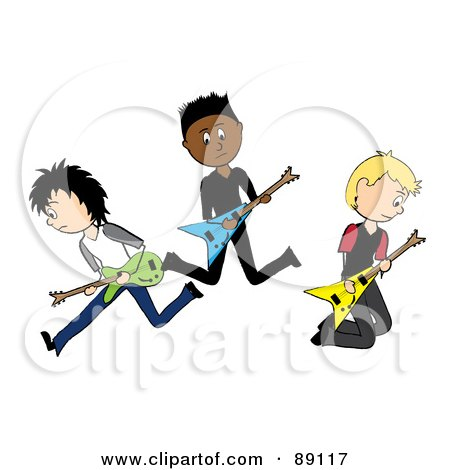Royalty-Free (RF) Clipart Illustration of a Group Of Three Male Guitarists In A Rock Band by Pams Clipart