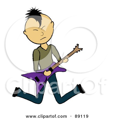 Royalty-Free (RF) Clipart Illustration of an Asian Guitarist Jumping by Pams Clipart