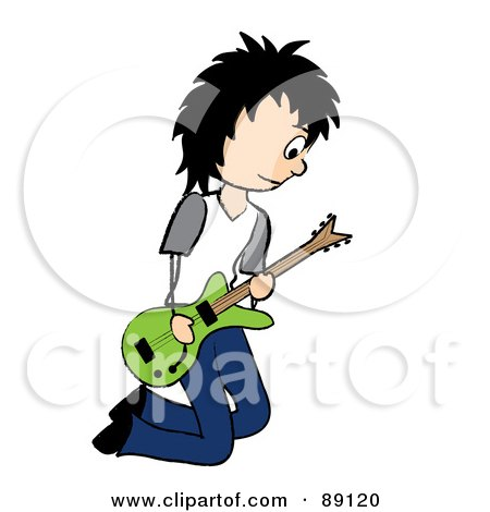 Royalty-Free (RF) Clipart Illustration of a Kneeling Black Haired Male Guitarist by Pams Clipart