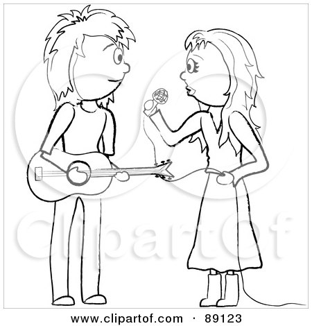 Royalty-Free (RF) Clipart Illustration of an Outlined Female Singer And Male Guitarist by Pams Clipart