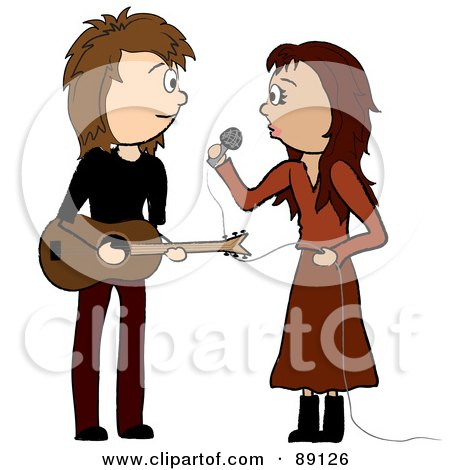 Royalty-Free (RF) Clipart Illustration of a Female Singer And Male Guitarist by Pams Clipart