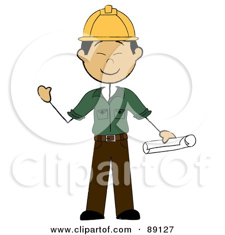 Royalty-Free (RF) Clipart Illustration of a Friendly Male Asian Contractor by Pams Clipart