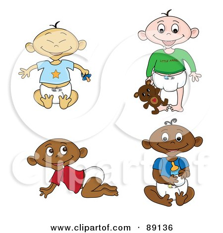 Royalty-Free (RF) Clipart Illustration of a Digital Collage Of Of Black, White, Indian And Asian Babies In Diapers by Pams Clipart