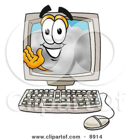 Clipart Picture of a Cloud Mascot Cartoon Character Waving From Inside a Computer Screen by Toons4Biz