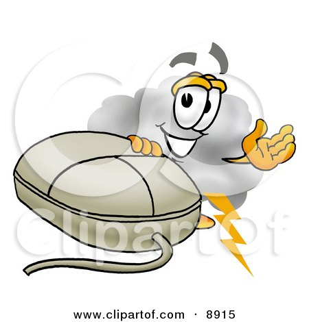 Clipart Picture of a Cloud Mascot Cartoon Character With a Computer Mouse by Toons4Biz