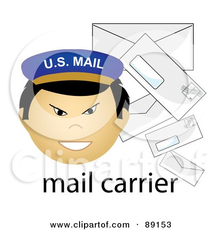 Royalty-Free (RF) Clipart Illustration of a Male Asian Mail Carrier With Letters by Pams Clipart