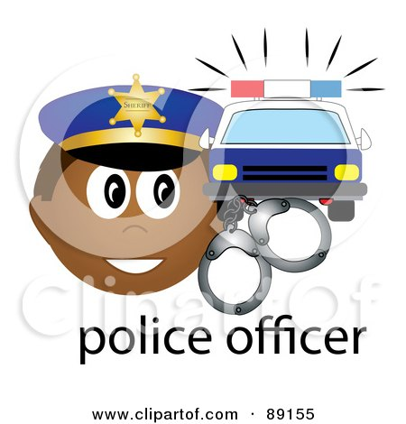 Royalty-Free (RF) Clipart Illustration of a Male Hispanic Police Officer With Handcuffs And A Car by Pams Clipart