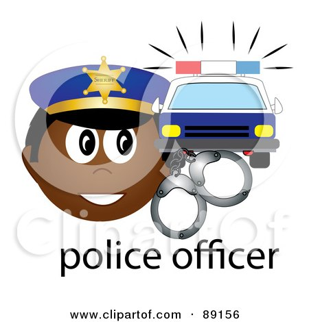 Royalty-Free (RF) Clipart Illustration of a Male African Police Officer With Handcuffs And A Car by Pams Clipart