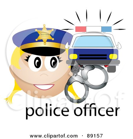 Royalty-Free (RF) Clipart Illustration of a Female Caucasian Police Officer With Handcuffs And A Car by Pams Clipart