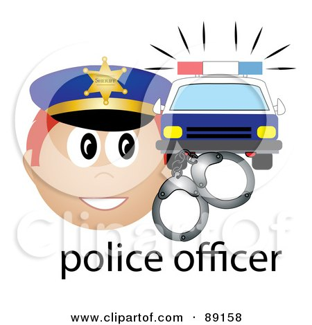 Royalty-Free (RF) Clipart Illustration of a Male Caucasian Police Officer With Handcuffs And A Car by Pams Clipart
