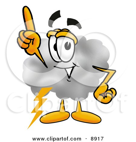 Clipart Picture of a Cloud Mascot Cartoon Character Pointing Upwards by Toons4Biz