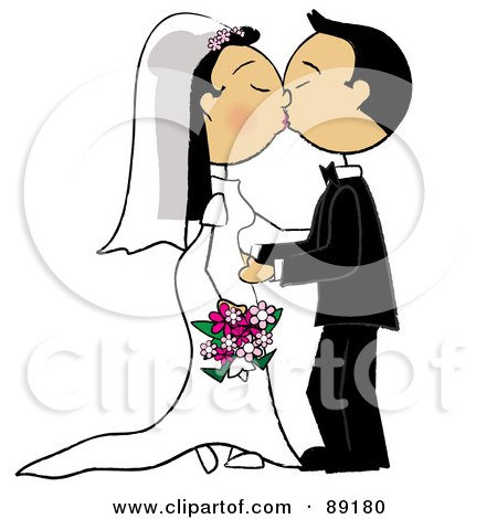 Royalty-Free (RF) Clipart Illustration of an Asian Wedding Couple Smooching by Pams Clipart