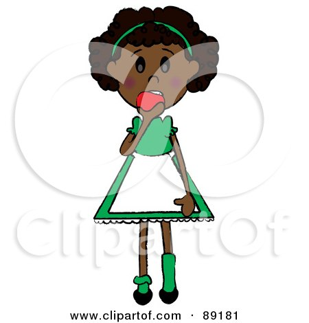 Royalty-Free (RF) Clipart Illustration of a Black Doodle Girl Eating An Apple by Pams Clipart