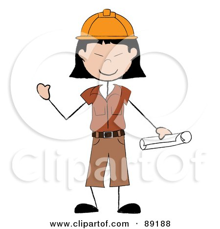 Royalty-Free (RF) Clipart Illustration of a Stick Asian Construction Worker Waving by Pams Clipart