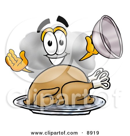 Clipart Picture of a Cloud Mascot Cartoon Character Serving a Thanksgiving Turkey on a Platter by Toons4Biz