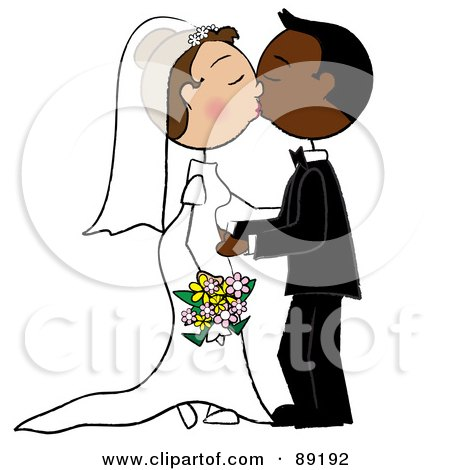 Caucasian And African Wedding Couple Smooching Posters, Art Prints