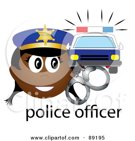 Royalty-Free (RF) Clipart Illustration of a Female African Police Officer With Handcuffs And A Car by Pams Clipart