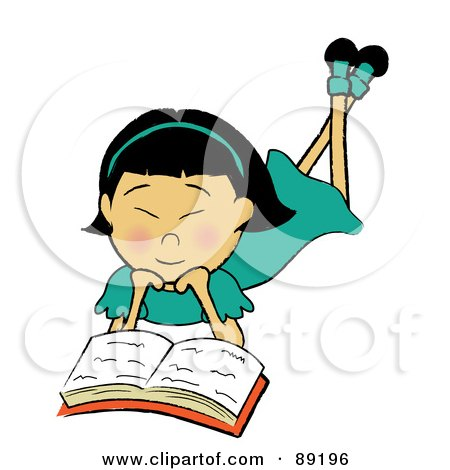 Royalty-Free (RF) Clipart Illustration of an Asian Girl Laying On Her Belly And Reading A Book by Pams Clipart