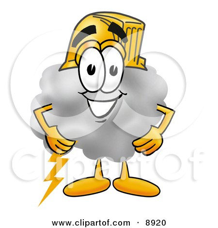 Clipart Picture of a Cloud Mascot Cartoon Character Wearing a Helmet by Toons4Biz