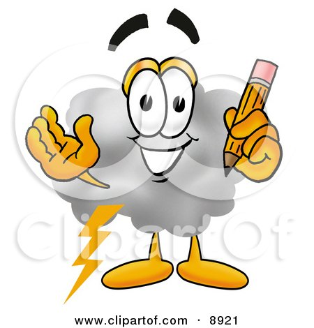 Clipart Picture of a Cloud Mascot Cartoon Character Holding a Pencil by Toons4Biz