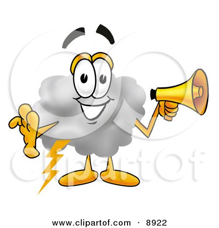Clipart Picture of a Cloud Mascot Cartoon Character Holding a Megaphone by Toons4Biz