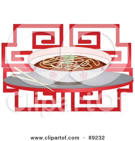 Royalty-Free (RF) Clipart Illustration of a Bowl Of Chinese Noodle Soup And Chopsticks Over Red by Melisende Vector