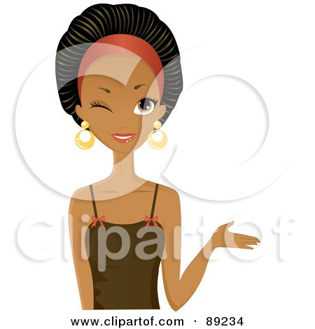 Royalty-Free (RF) Clipart Illustration of a Gorgeous Black Woman Winking And Presenting With Her Hand by Melisende Vector
