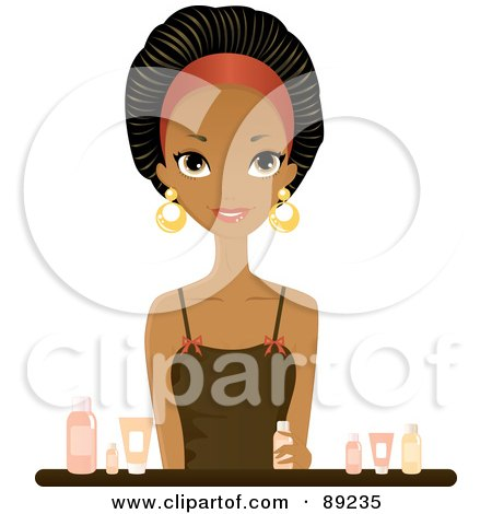 Royalty-Free (RF) Clipart Illustration of a Gorgeous Black Woman Sitting With Beauty Products by Melisende Vector