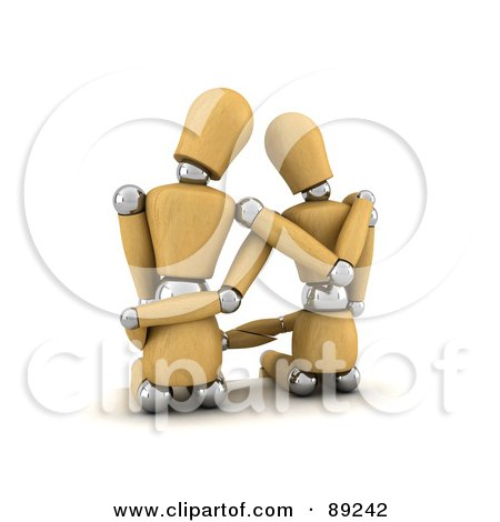 Royalty-Free (RF) Clipart Illustration of a 3d Wood Manequin Couple Sitting And Embracing by stockillustrations