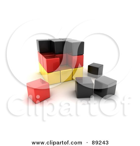 Royalty-Free (RF) Clipart Illustration of a 3d Black, Red And Yellow German Puzzle Cube by stockillustrations